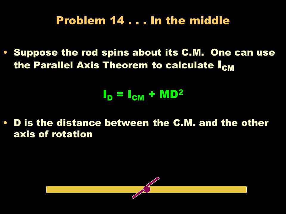 Solution 13... Long, thin rod I = mr 2 However, r is a variable so we need to integrate. (ain't that fun!) A small mass m of length dr must = M/L dr I