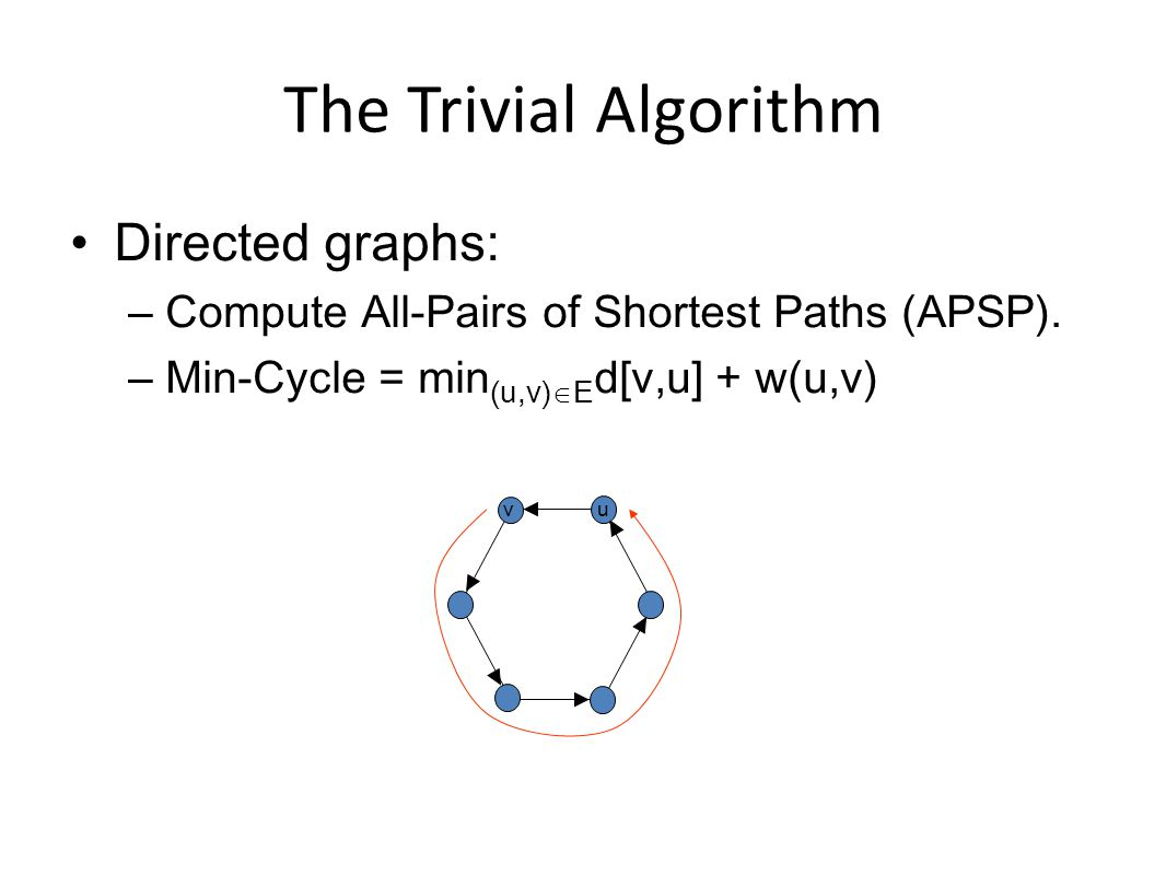 The Trivial Algorithm Directed graphs: – Compute All-Pairs of Shortest Paths (APSP).