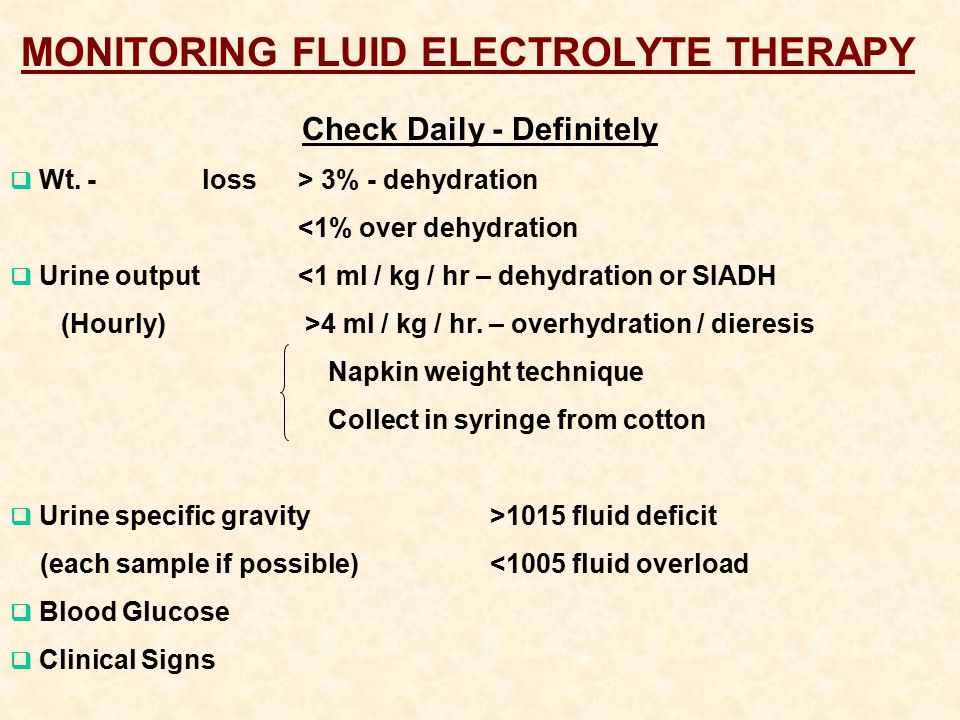 MONITORING FLUID ELECTROLYTE THERAPY Check Daily - Definitely  Wt.