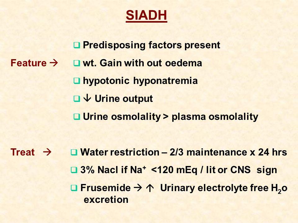 SIADH  Predisposing factors present Feature   wt.