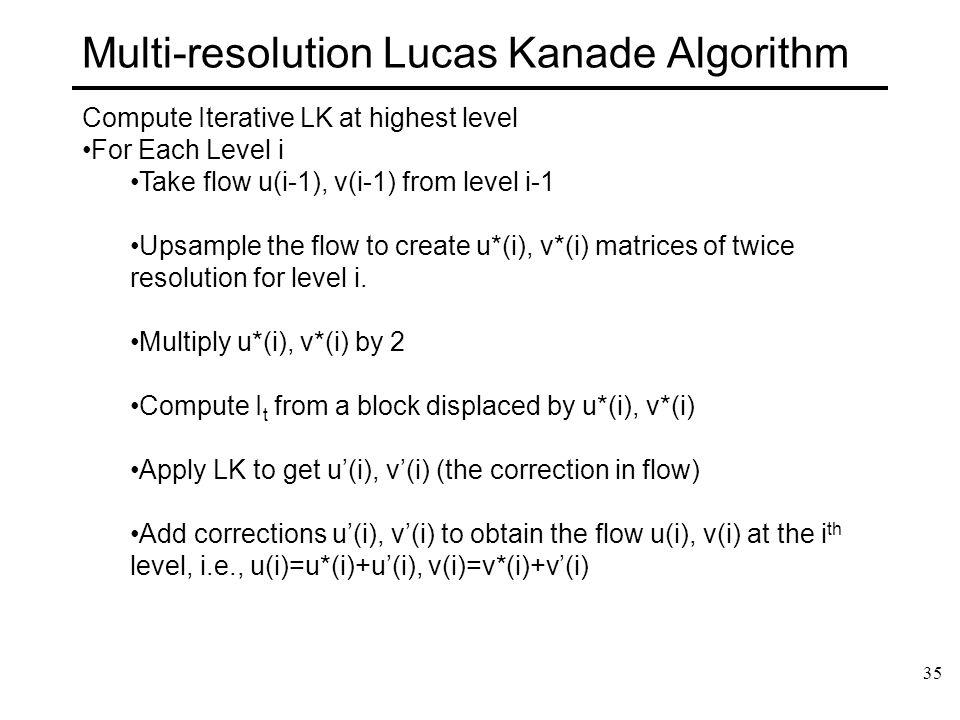 35 Multi-resolution Lucas Kanade Algorithm Compute Iterative LK at highest level For Each Level i Take flow u(i-1), v(i-1) from level i-1 Upsample the