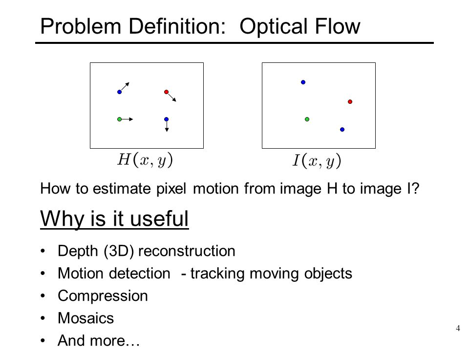 5 Problem Definition: Optical Flow How to estimate pixel motion from image H to image I.