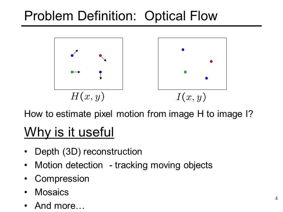35 Multi-resolution Lucas Kanade Algorithm Compute Iterative LK at highest level For Each Level i Take flow u(i-1), v(i-1) from level i-1 Upsample the flow to create u*(i), v*(i) matrices of twice resolution for level i.