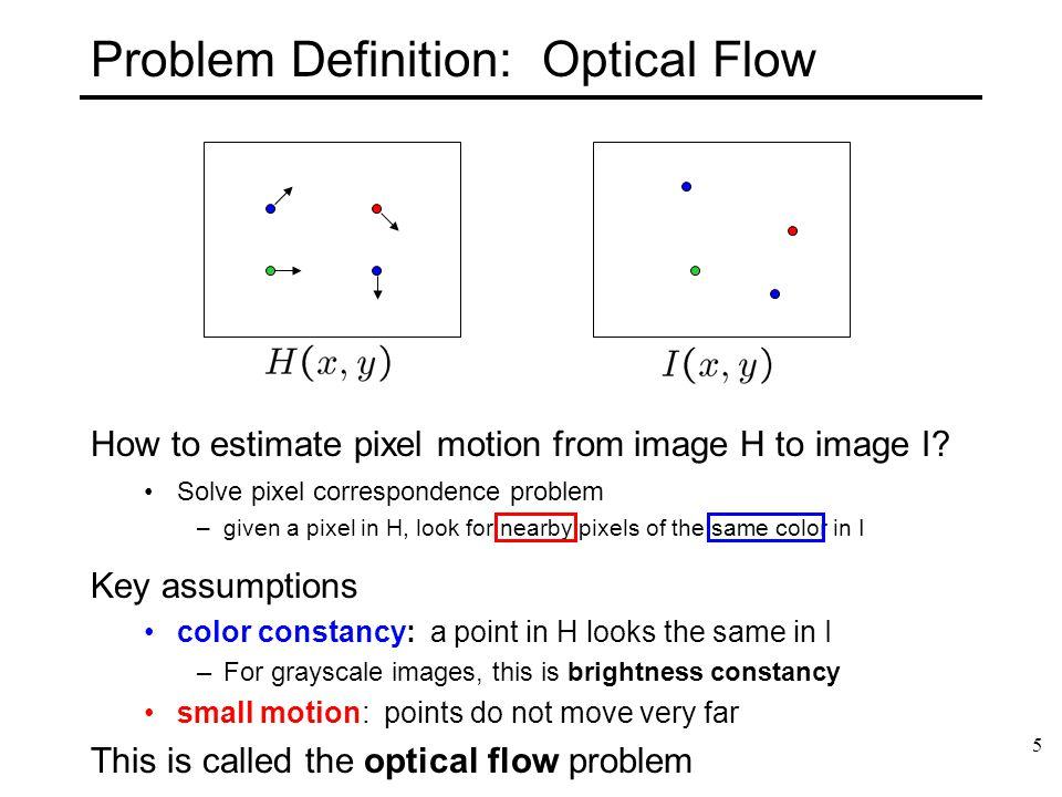 6 Motion estimation: Optical flow Goal: estimate the motion of each pixel
