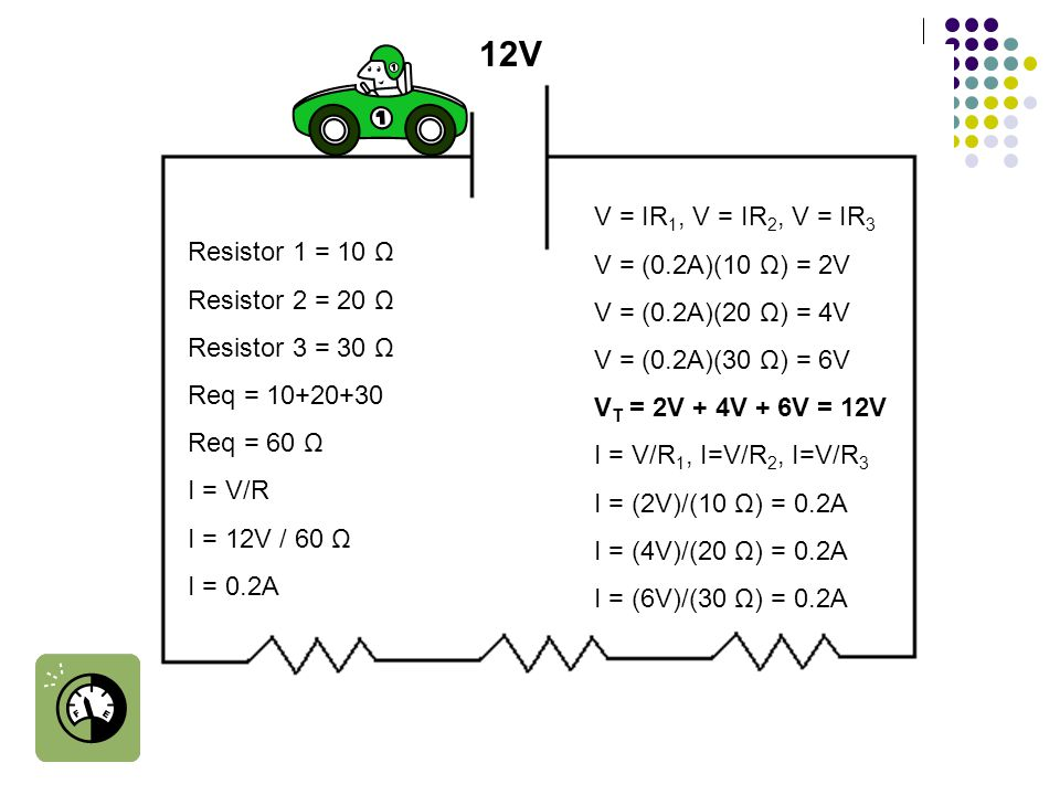 Resistor 1 = 10 Ω Resistor 2 = 20 Ω Resistor 3 = 30 Ω Req = 10+20+30 Req = 60 Ω I = V/R I = 12V / 60 Ω I = 0.2A 12V V = IR 1, V = IR 2, V = IR 3 V = (0.2A)(10 Ω) = 2V V = (0.2A)(20 Ω) = 4V V = (0.2A)(30 Ω) = 6V V T = 2V + 4V + 6V = 12V I = V/R 1, I=V/R 2, I=V/R 3 I = (2V)/(10 Ω) = 0.2A I = (4V)/(20 Ω) = 0.2A I = (6V)/(30 Ω) = 0.2A