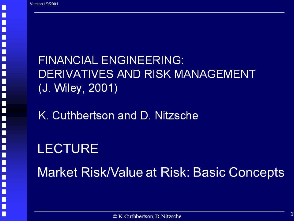 © K.Cuthbertson, D.Nitzsche 1 LECTURE Market Risk/Value at Risk: Basic Concepts Version 1/9/2001