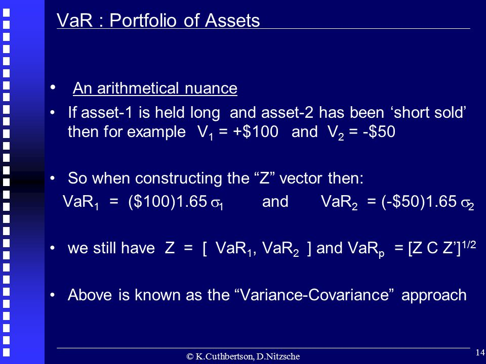 © K.Cuthbertson, D.Nitzsche 14 An arithmetical nuance If asset-1 is held long and asset-2 has been 'short sold' then for example V 1 = +$100 and V 2 =