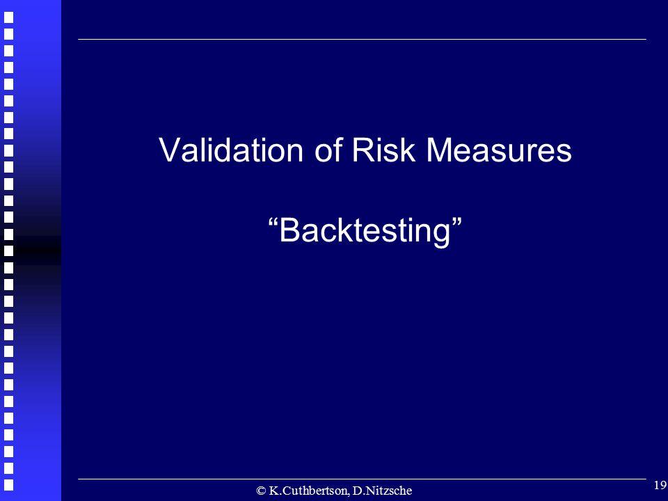 "© K.Cuthbertson, D.Nitzsche 19 Validation of Risk Measures ""Backtesting"""