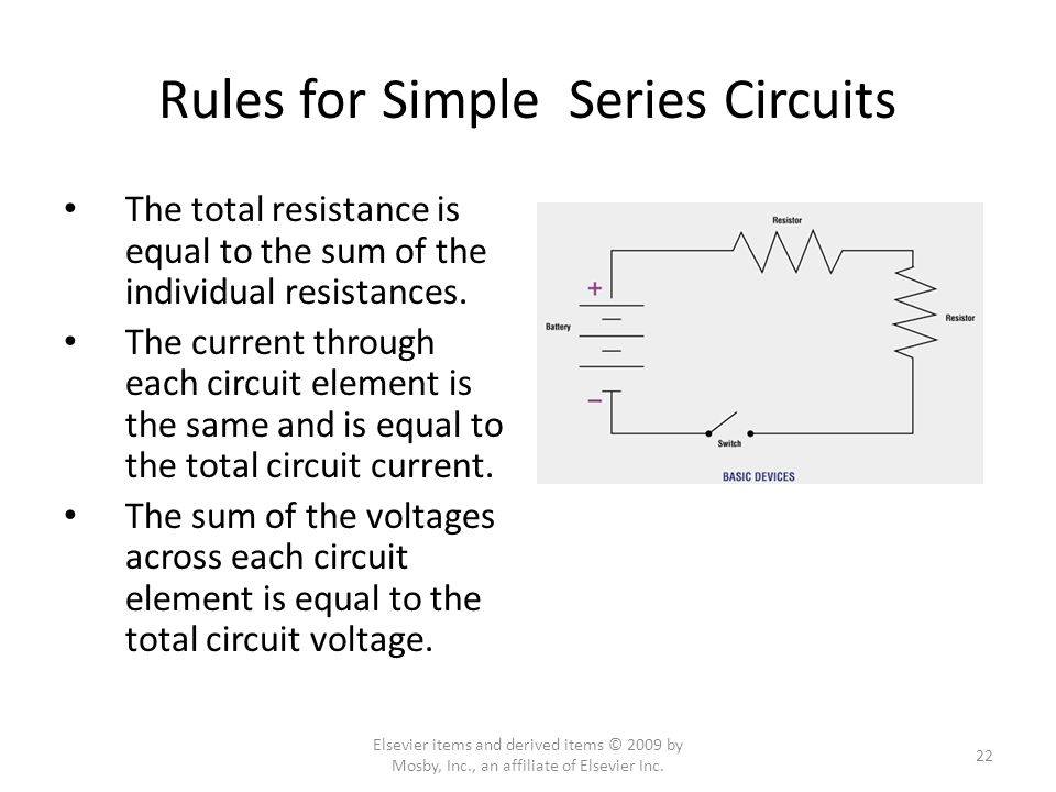 Rules for Simple Series Circuits The total resistance is equal to the sum of the individual resistances.