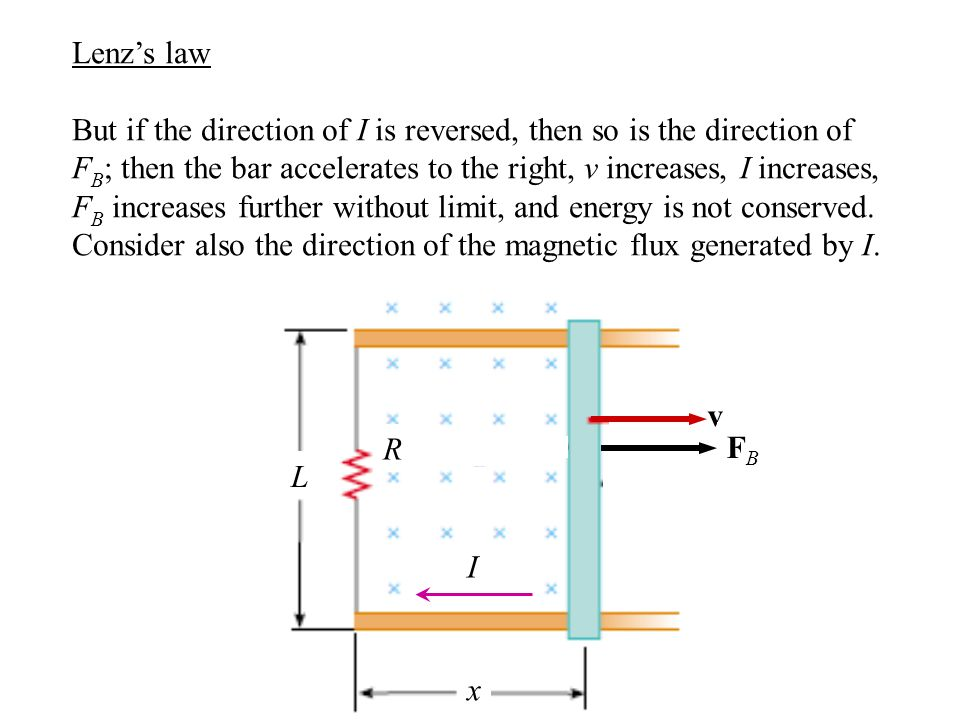 Lenz's law But if the direction of I is reversed, then so is the direction of F B ; then the bar accelerates to the right, v increases, I increases, F