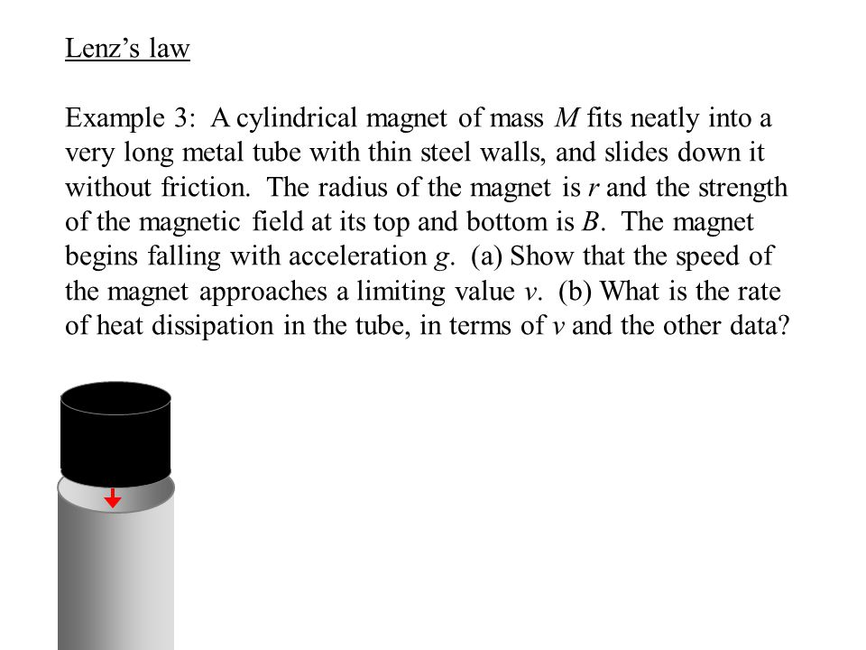 Lenz's law Example 3: A cylindrical magnet of mass M fits neatly into a very long metal tube with thin steel walls, and slides down it without frictio