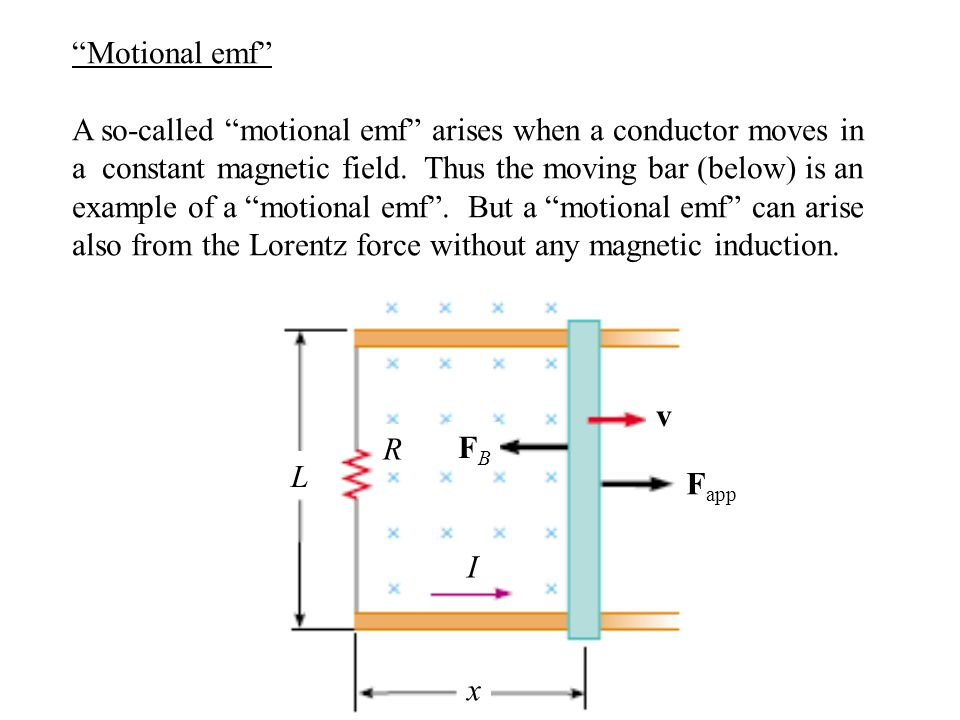 """Motional emf"" A so-called ""motional emf"" arises when a conductor moves in a constant magnetic field. Thus the moving bar (below) is an example of a """