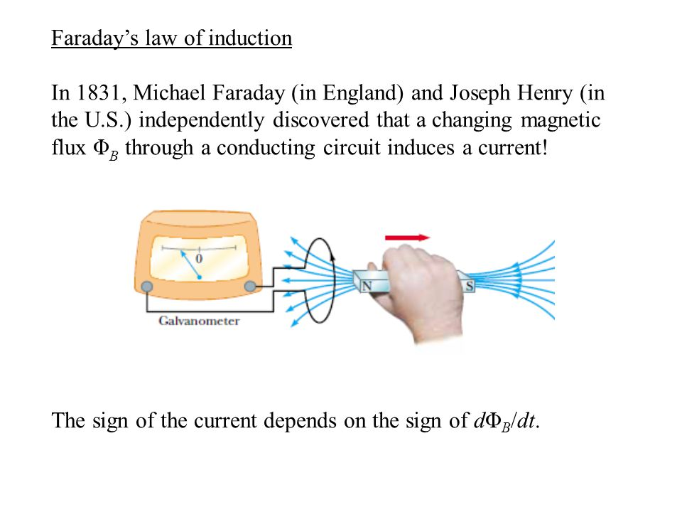 Faraday's law of induction In fact, the induced emf E is directly proportional to dΦ B /dt.