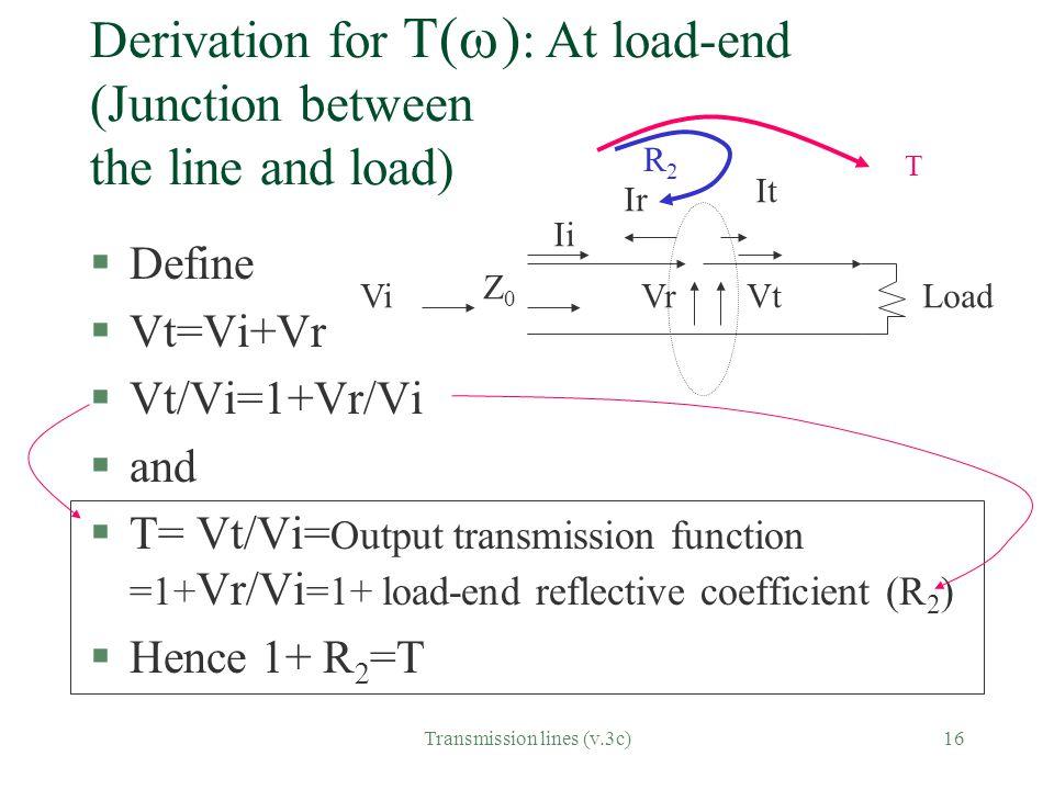 Transmission lines (v.3c)16 Derivation for T(  ) : At load-end (Junction between the line and load) §Define §Vt=Vi+Vr §Vt/Vi=1+Vr/Vi §and §T= Vt/Vi=