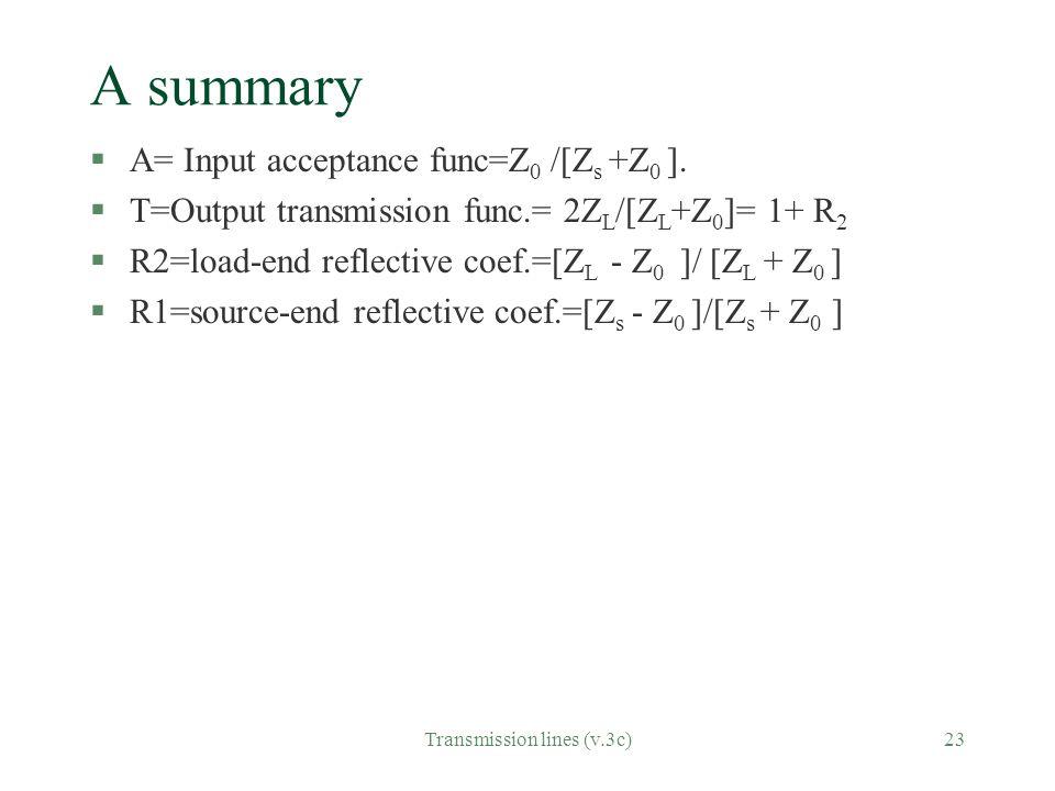 Transmission lines (v.3c)23 A summary §A= Input acceptance func=Z 0 /[Z s +Z 0 ]. §T=Output transmission func.= 2Z L /[Z L +Z 0 ]= 1+ R 2 §R2=load-end