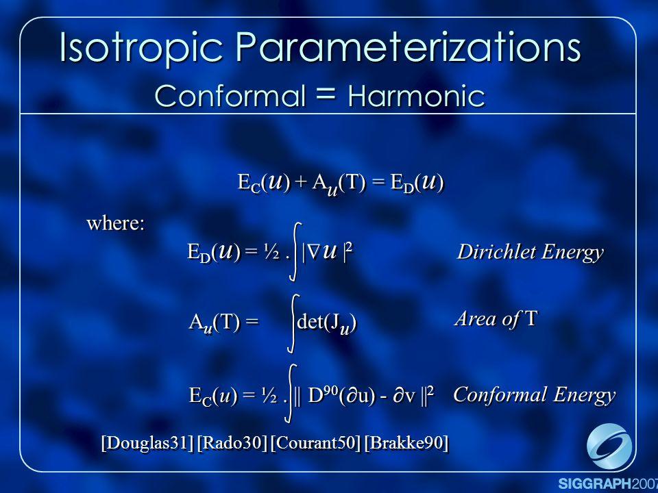 Isotropic Parameterizations Conformal = Harmonic E C ( u ) + A u (T) = E D ( u )   E D ( u ) = ½.