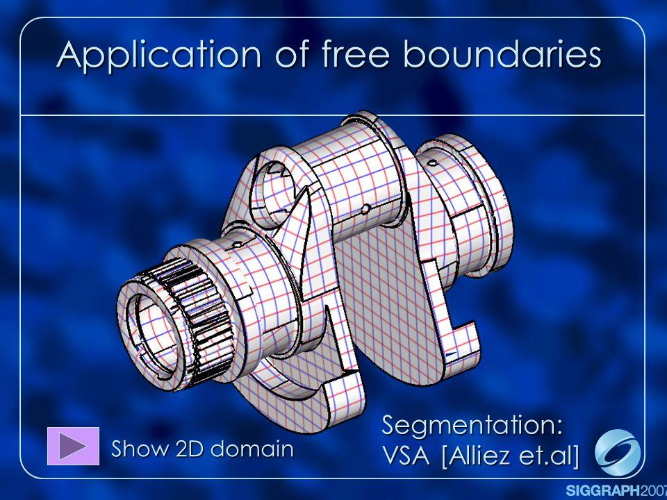 Application of free boundaries Show 2D domain Segmentation: VSA [Alliez et.al]