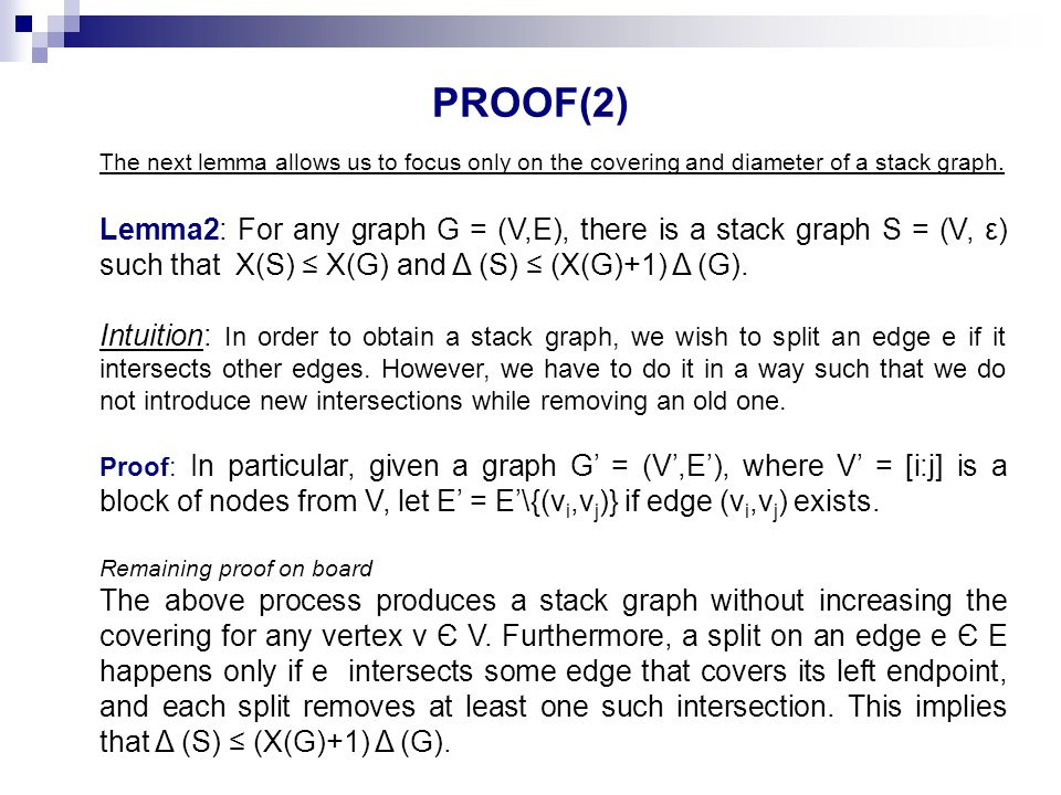 PROOF(2) The next lemma allows us to focus only on the covering and diameter of a stack graph.