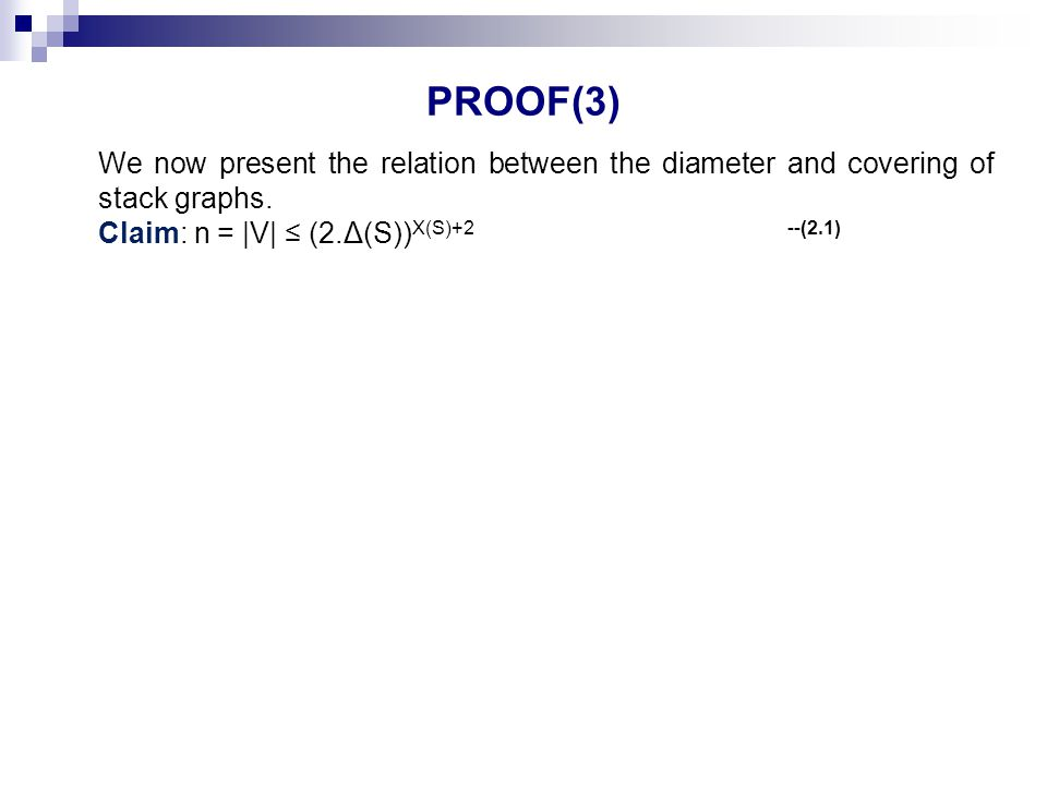 PROOF(3) We now present the relation between the diameter and covering of stack graphs.