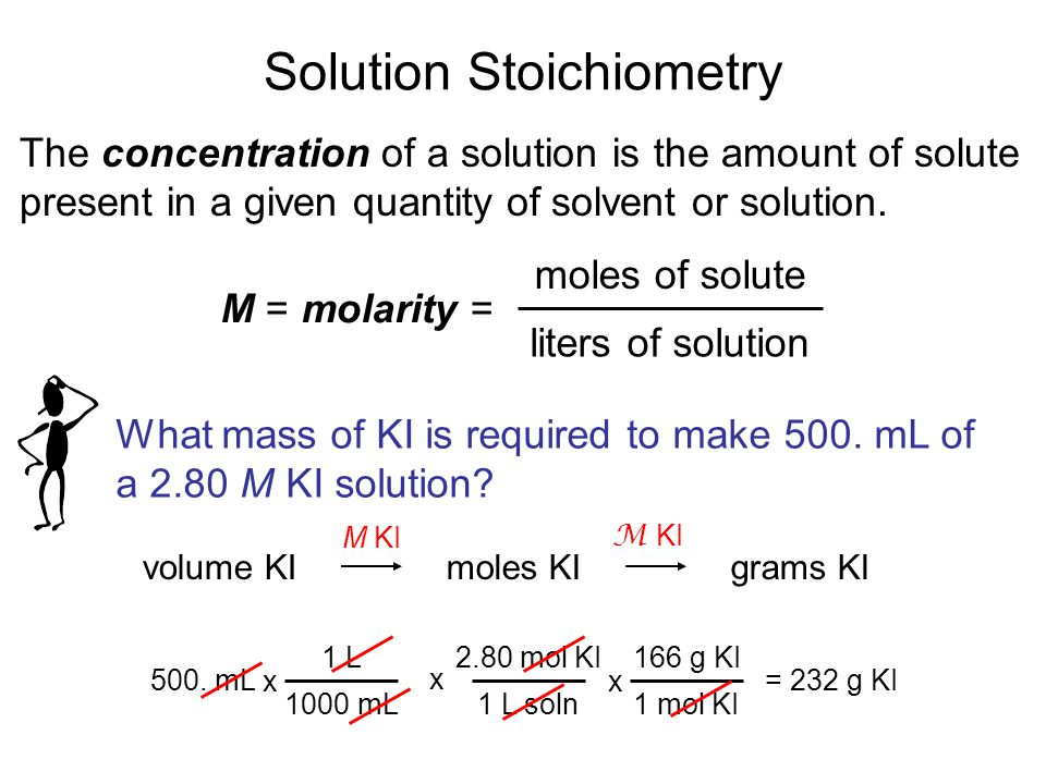 Solution Stoichiometry The concentration of a solution is the amount of solute present in a given quantity of solvent or solution. M = molarity = mole