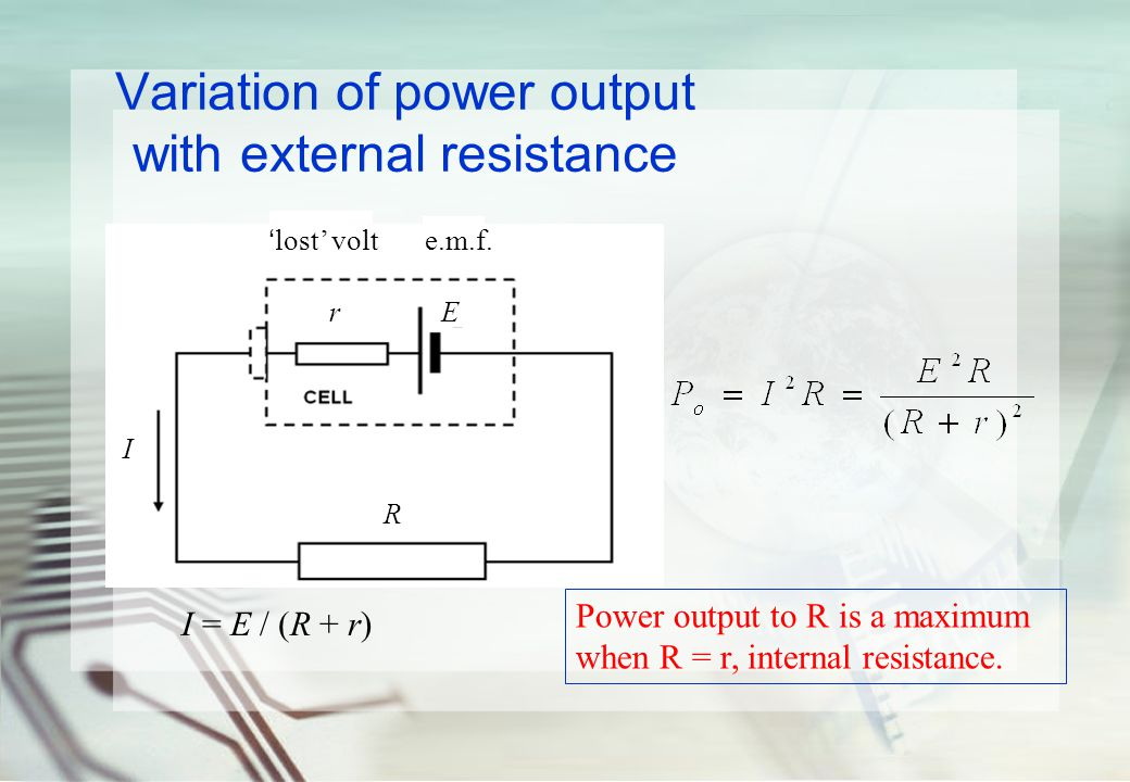 Variation of power output with external resistance terminal voltage R r E I 'lost' volte.m.f.