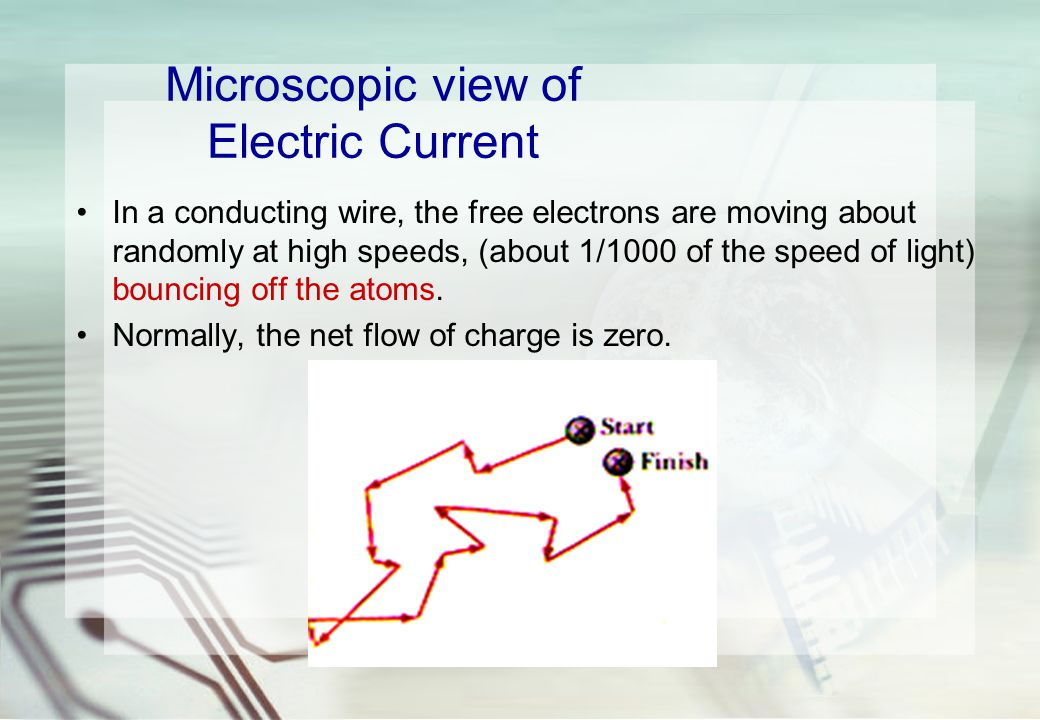 Microscopic view of Electric Current In a conducting wire, the free electrons are moving about randomly at high speeds, (about 1/1000 of the speed of light) bouncing off the atoms.