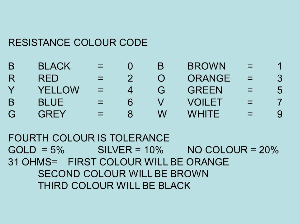 RESISTANCE COLOUR CODE BBLACK=0 BBROWN =1 RRED=2OORANGE=3 YYELLOW=4GGREEN=5 BBLUE=6VVOILET=7 GGREY=8WWHITE=9 FOURTH COLOUR IS TOLERANCE GOLD = 5% SILV