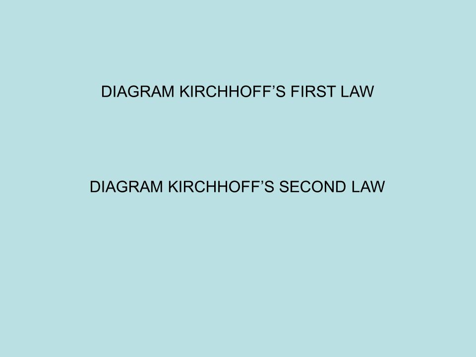 DIAGRAM KIRCHHOFF'S FIRST LAW DIAGRAM KIRCHHOFF'S SECOND LAW