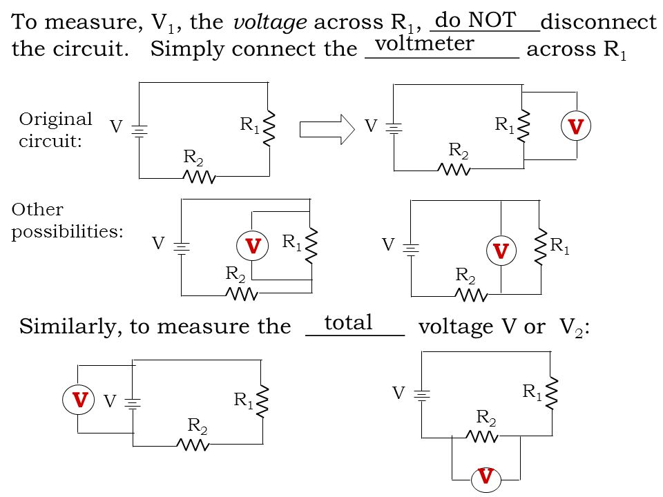 To measure, V 1, the voltage across R 1, __________disconnect the circuit.