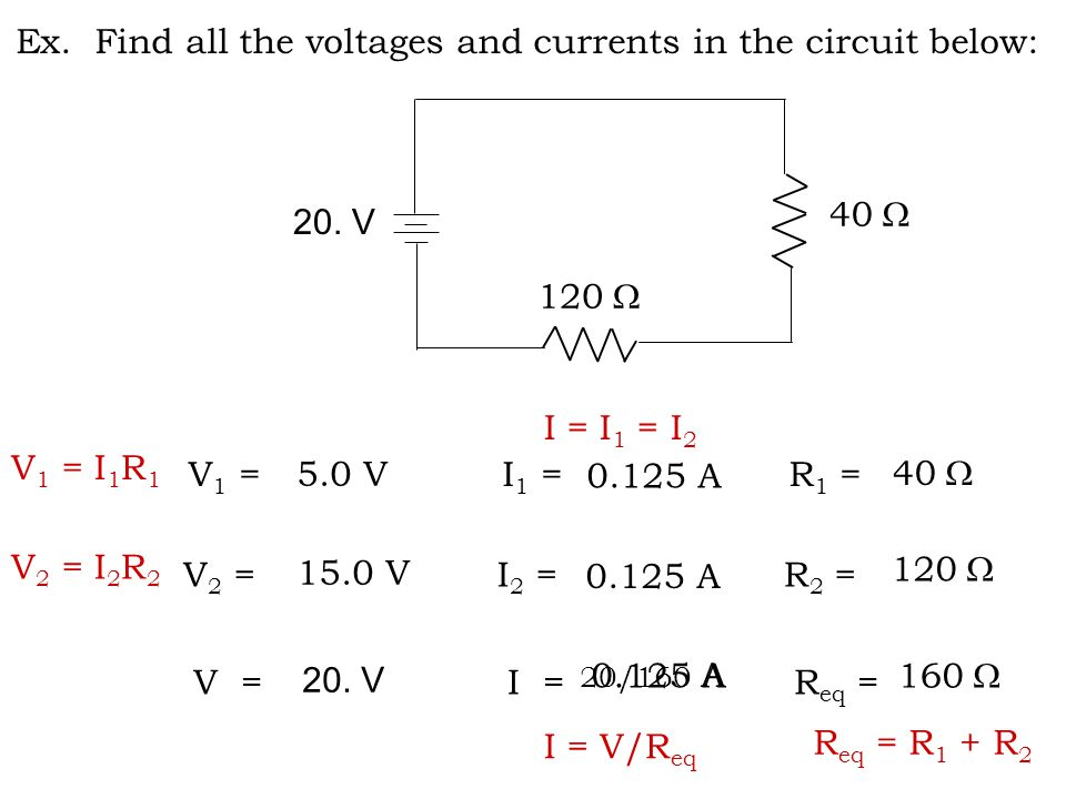 Ex. Find all the voltages and currents in the circuit below: 20.