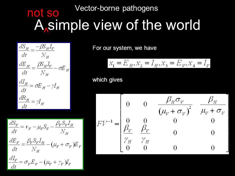 A simple view of the world Vector-borne pathogens ^ not so For our system, we have which gives