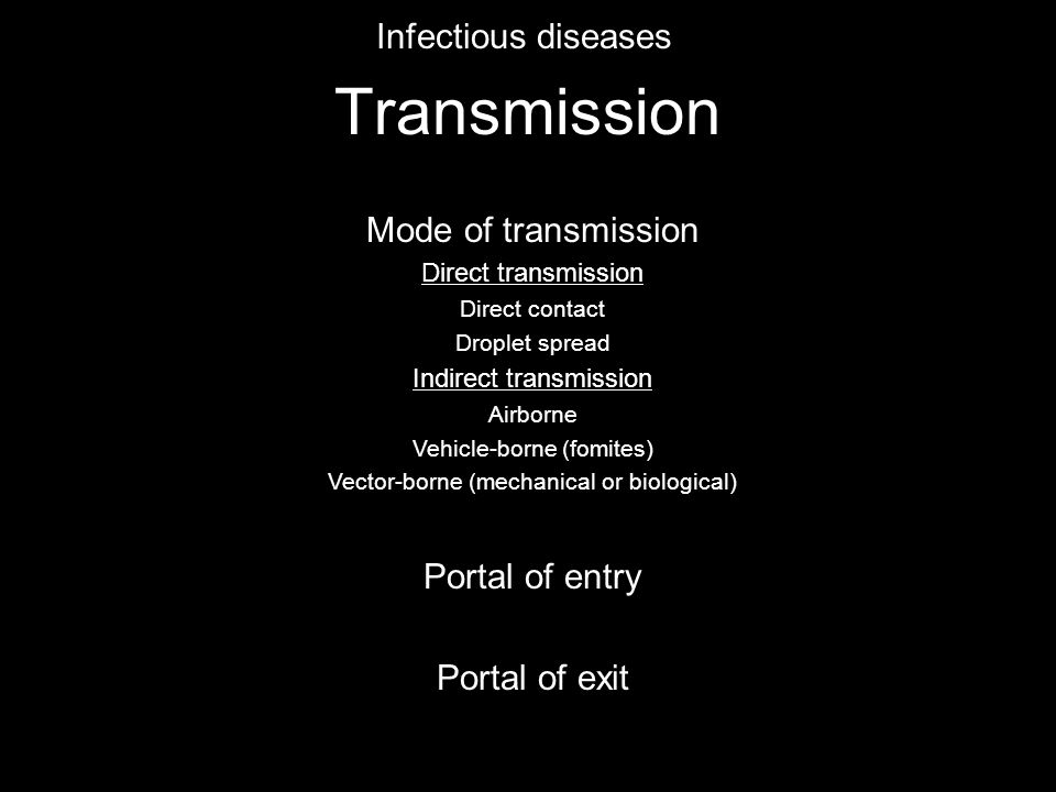 Transmission Infectious diseases Mode of transmission Direct transmission Direct contact Droplet spread Indirect transmission Airborne Vehicle-borne (fomites) Vector-borne (mechanical or biological) Portal of entry Portal of exit Mosquitoes Ticks Sandflies Tsetse flies Reduviid bugs
