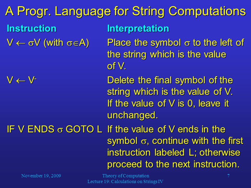 November 19, 2009Theory of Computation Lecture 19: Calculations on Strings IV 7 A Progr.