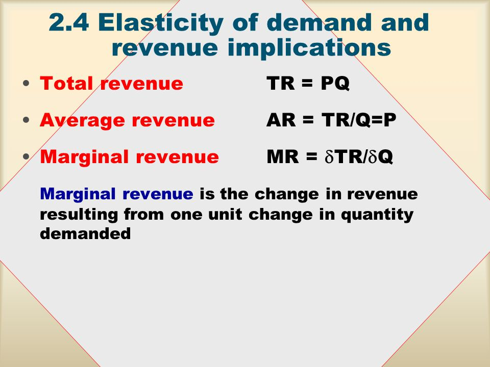 2.4Elasticity of demand and revenue implications Income elasticity - the percentage change in quantity demanded for a good, Q a, that results from one per cent change in the buyer's income, I E I = %  Q a /%  A good is: –normal - when, ceteris paribus, an increase in income results in an increase in quantity demanded 0<E I (a necessity if 0 < E I <1) –inferior - when, ceteris paribus, an increase in income results in a decrease in quantity demanded E I <0