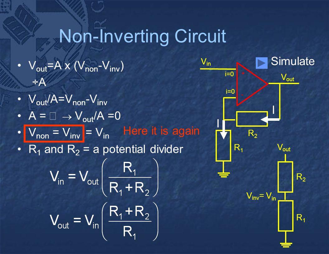 - + V out V in i=0 R2R2 R1R1 I I Non-Inverting Circuit V out =A x (V non -V inv ) ÷A V out /A=V non -V inv A =    V out /A =0 V non = V inv = V in R 1 and R 2 = a potential divider R2R2 R1R1 V out V inv = V in Here it is again Simulate