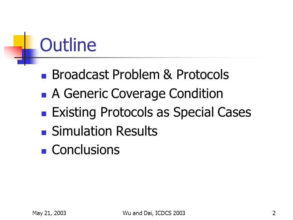 May 21, 2003Wu and Dai, ICDCS 20032 Outline Broadcast Problem & Protocols A Generic Coverage Condition Existing Protocols as Special Cases Simulation Results Conclusions