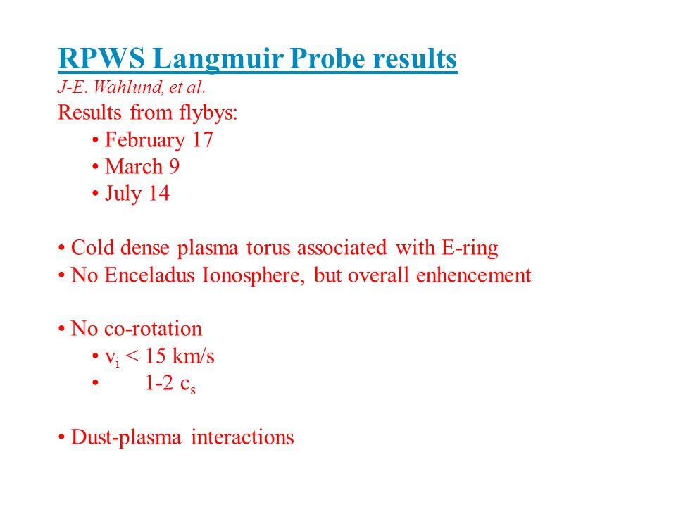RPWS Langmuir Probe results J-E. Wahlund, et al.