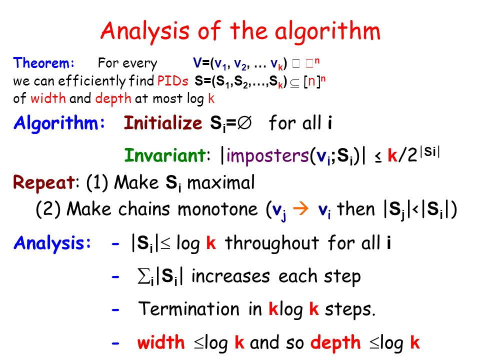 Analysis of the algorithm Theorem: For every V=(v 1, v 2, … v k )   n we can efficiently find PIDs S=(S 1,S 2,…,S k )  [ n ] n of width and depth at most log k Algorithm: Initialize S i =  for all i Invariant: |imposters( v i ;S i )| ≤ k /2 | Si | Repeat: (1) Make S i maximal (2) Make chains monotone (v j  v i then | S j |<| S i |) Analysis: - | S i |  log k throughout for all i -  i | S i | increases each step - Termination in k log k steps.