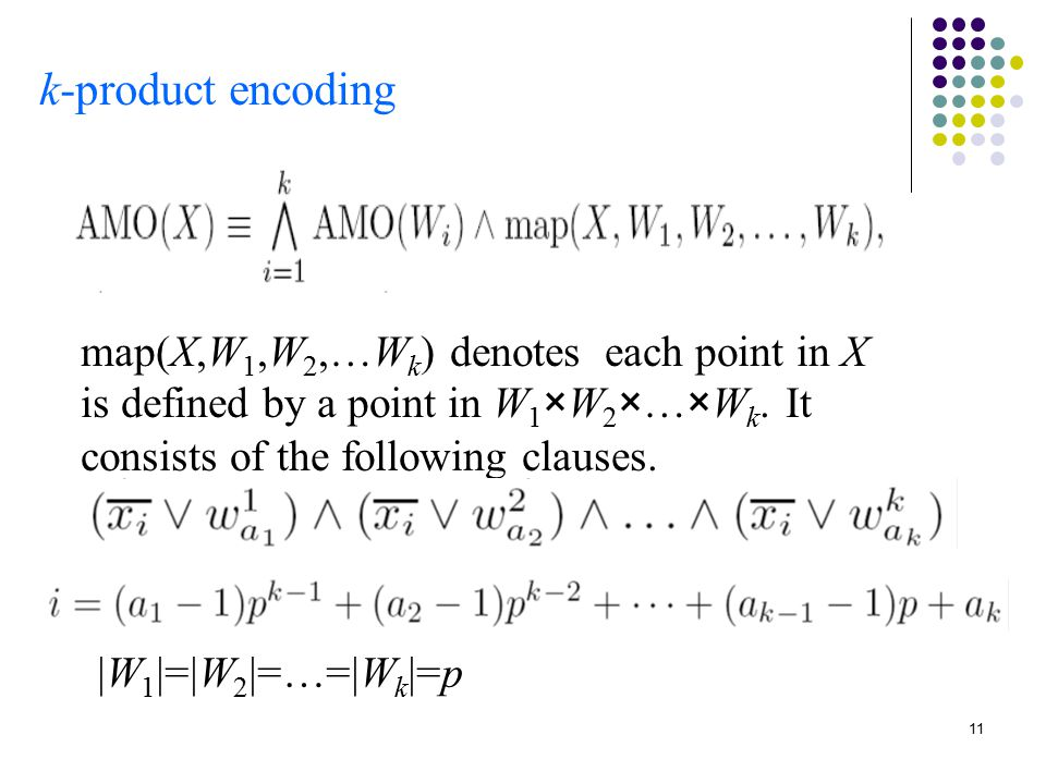 11 k-product encoding map(X,W 1,W 2,…W k ) denotes each point in X is defined by a point in W 1 ×W 2 ×…×W k.