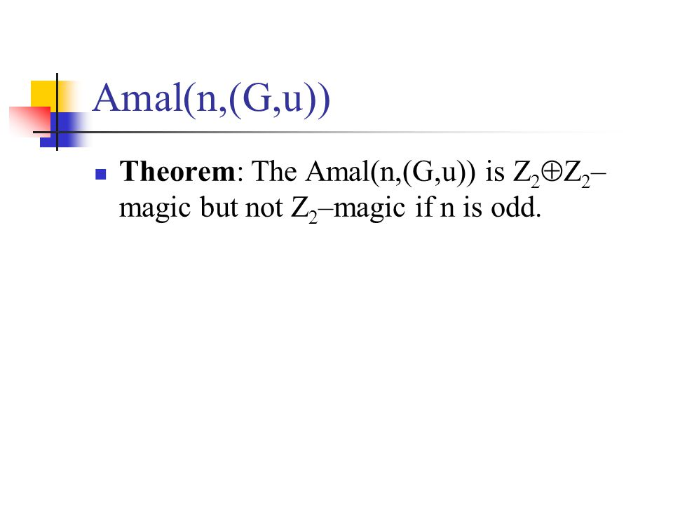 Amal(n,(G,u)) Theorem: The Amal(n,(G,u)) is Z 2  Z 2 – magic but not Z 2 –magic if n is odd.