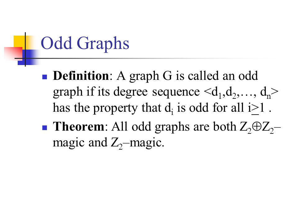 Example : K 4 K 4 is Z 2  Z 2 –magic with sum 0 and Z 2 – magic with sum 1.