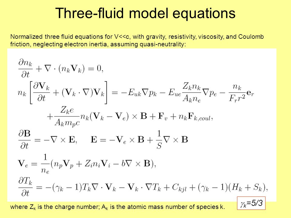 Three-fluid model equations where Z k is the charge number; A k is the atomic mass number of species k.