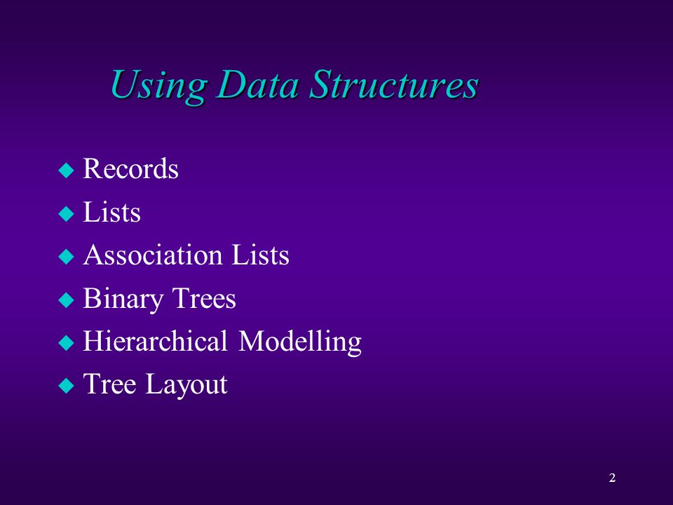 23 Binary Trees u empty tree: null u non-empty: node(t1, i, t2) where t1 and t2 are trees and i is the item in the node u programs follow a pattern (as for lists) u a rule for empty trees u a recursive rule (or more) for non-empty trees
