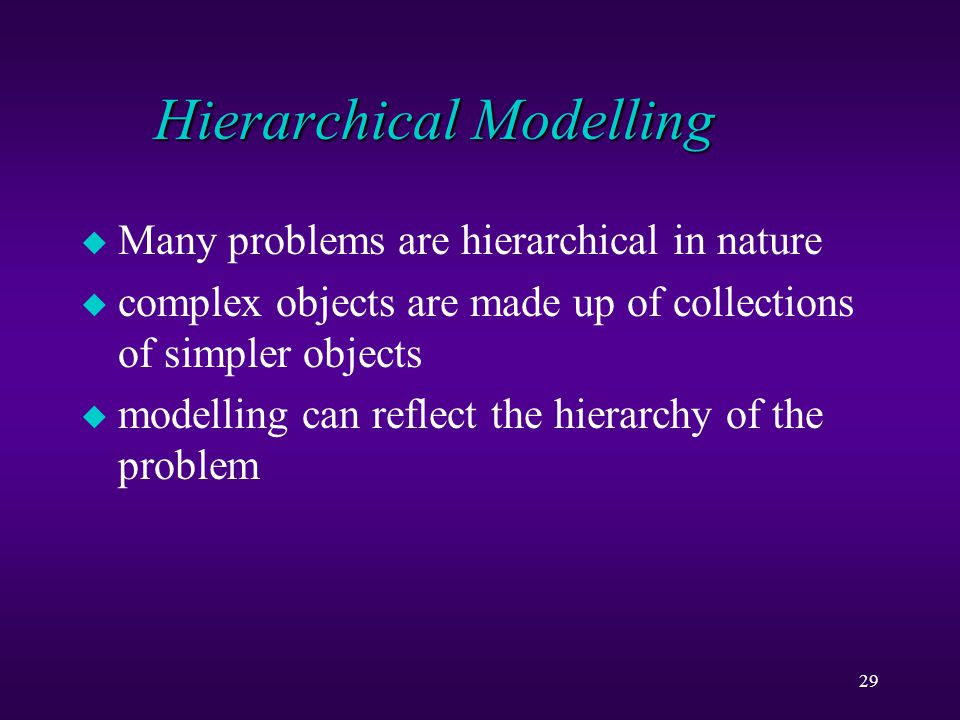 29 Hierarchical Modelling u Many problems are hierarchical in nature u complex objects are made up of collections of simpler objects u modelling can reflect the hierarchy of the problem