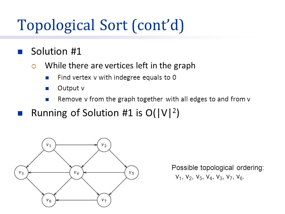 Topological Sort (cont'd) Solution #1  While there are vertices left in the graph Find vertex v with indegree equals to 0 Output v Remove v from the