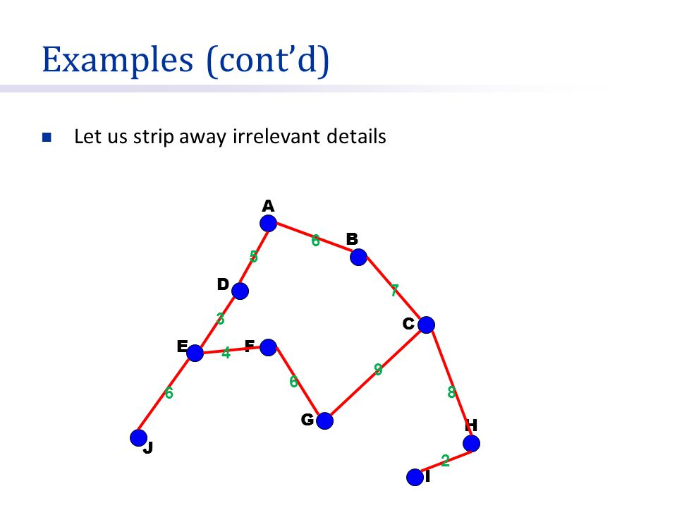 Representations (cont'd) It is good to use adjacency lists for sparse graphs Sparse means not dense Graph is dense means |E| =  (|V| 2 )