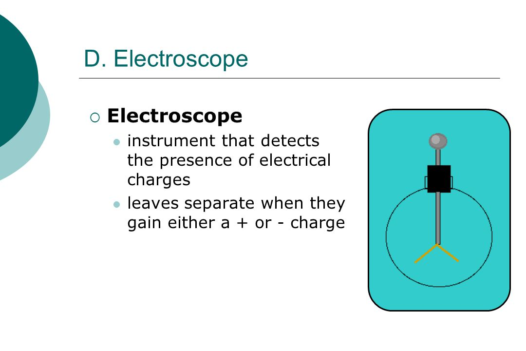 D. Electroscope  Electroscope instrument that detects the presence of electrical charges leaves separate when they gain either a + or - charge