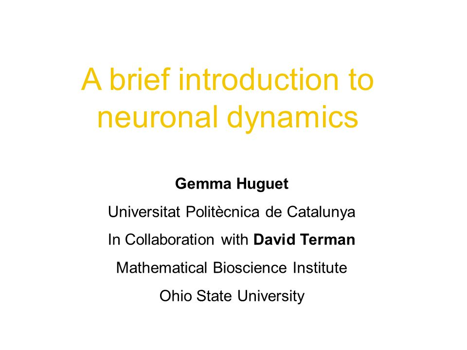 A brief introduction to neuronal dynamics Gemma Huguet Universitat Politècnica de Catalunya In Collaboration with David Terman Mathematical Bioscience Institute Ohio State University