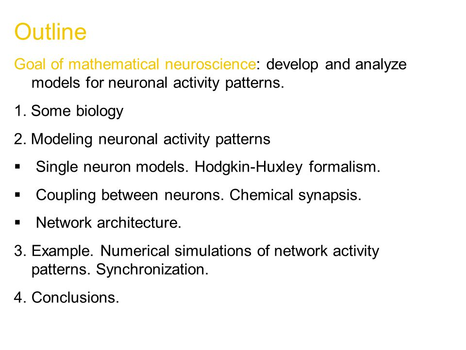 Outline Goal of mathematical neuroscience: develop and analyze models for neuronal activity patterns.