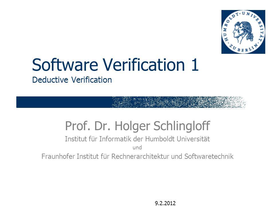 Folie 2 H. Schlingloff, Software Verification I Research is calling... 9.2.2012